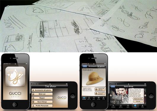Esempio del lavoro di Matteo per l'applicazione mobile.