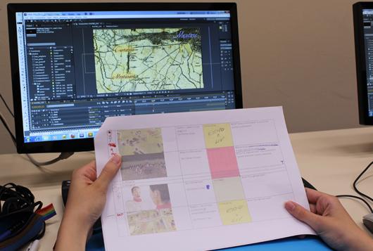storyboard del video della ricostruzione in animazione 3D della battaglia di Curtatone e Montanara