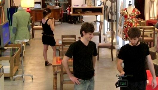 Gli studenti Fabio Sgrani, Filippo Golin e Alessandra Attanasi presso l'Opificio JM a Prato
